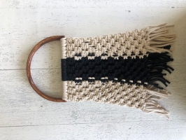 Τσάντα Μακραμέ με Ξύλινα Χερούλια